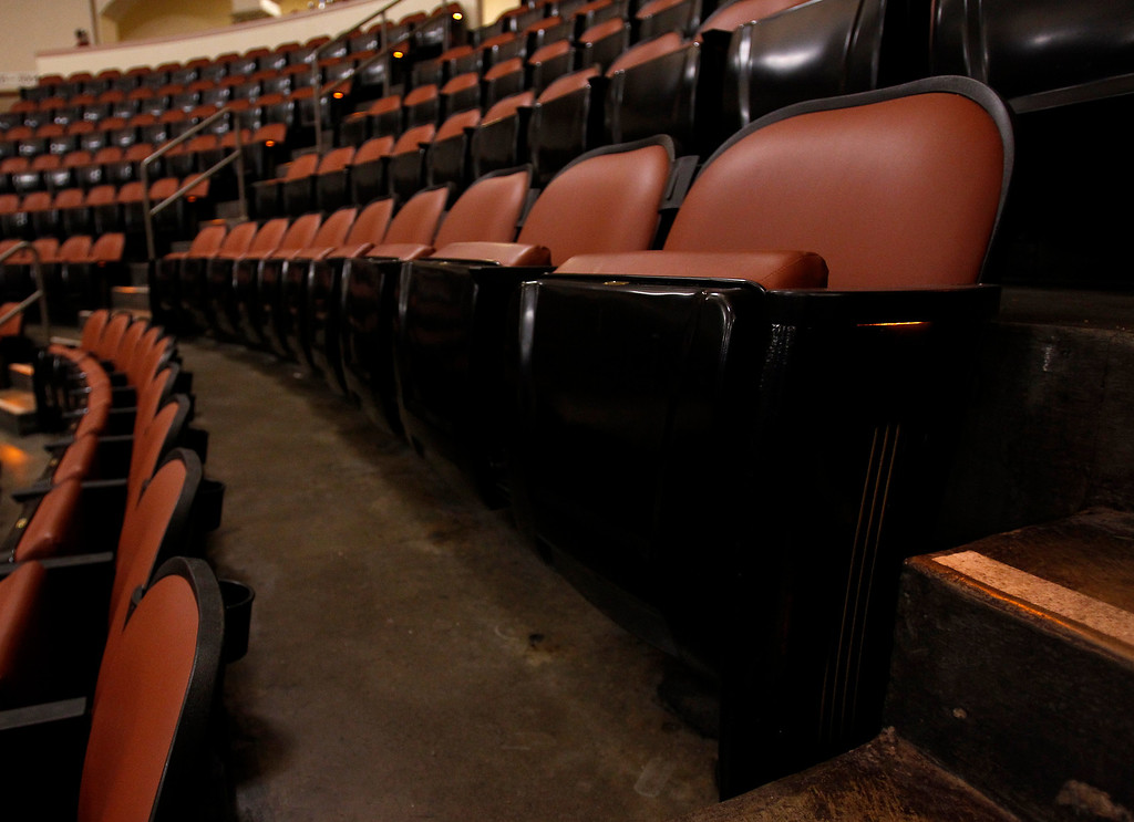 . New plush saddle-leather seats have been installed during renovations at the San Jose Civic.  Photographed before Jackson Browne performed at the San Jose Civic in downtown San Jose, Calif. on Tuesday, Jan. 22, 2013.  (Nhat V. Meyer/Staff)