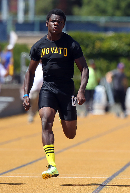 . Novato\'s Christian Corbin races in the boys 100 meter final at the North Coast Section Meet of Champions at Cal\'s Edwards Stadium in Berkeley, Calif., on Saturday, May 25, 2013. Hutchins placed second in the race. Corbin placed second. (Anda Chu/Bay Area News Group)