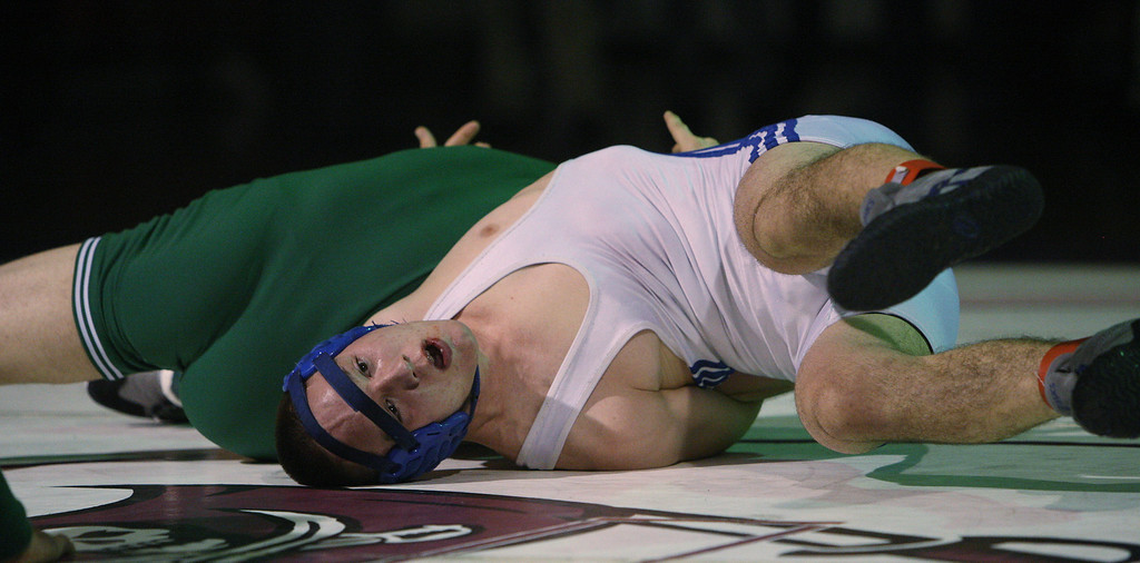 . Harbor\'s Bryan Battisto pins Pioneer\'s John Sinclair to win the 152 pound class during the CCS wrestling championships at Independence High School in San Jose, Calif. on Saturday, Feb. 23, 2013. (Jim Gensheimer/Staff)
