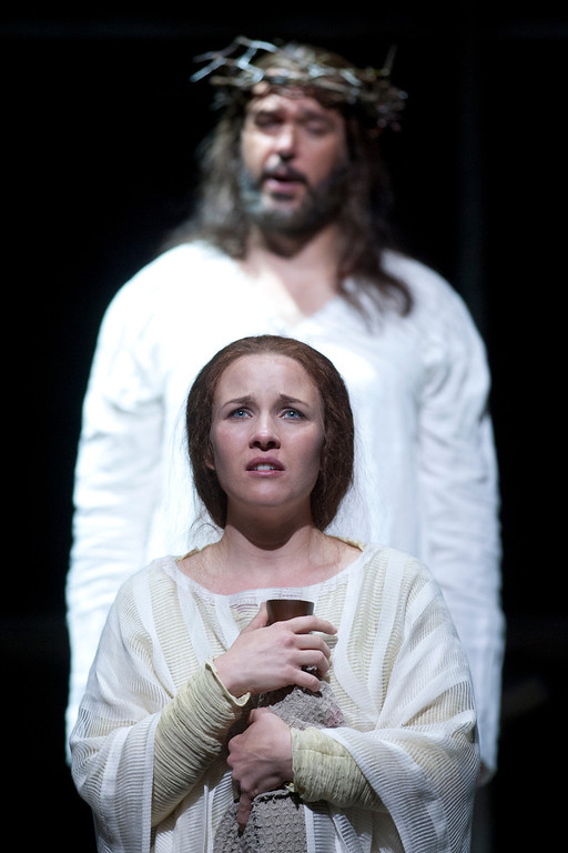""". Sasha Cooke, bottom, portrays Mary Magdalene, and Nathan Gunn plays Yeshua (Jesus) in San Francisco Opera\'s world premiere of Mark Adamo\'s \""""The Gospel of Mary Magdalene,\"""" Sunday, June 16, 2013 at the War Memorial Opera House in San Francisco. (D. Ross Cameron/Bay Area News Group)"""