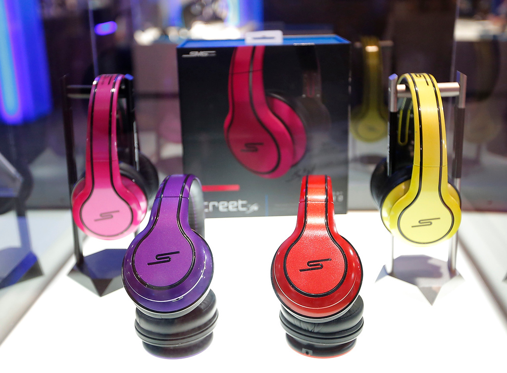. Some colorful headphones are on display at the SMS Audio booth at the International Consumer Electronics Show in Las Vegas, Thursday, Jan. 10, 2013. (AP Photo/Jae C. Hong)
