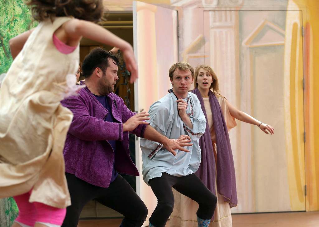 """. Steven Westdahl, Brandon Mears and Amber Sommerfeld, left to right, perform in San Francisco Shakespeare\'s \""""A Midsummer Night\'s Dream\"""" on the Aesop\'s Playhouse stage at Children\'s Fairyland in Oakland, Calif., on Friday, March 15, 2013. (Jane Tyska/Staff)"""