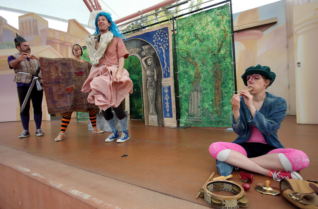 """. Steven Westdahl, Nikki Akraboff, Brandon Mears and Amber Sommerfeld, left to right, perform in San Francisco Shakespeare\'s \""""A Midsummer Night\'s Dream\"""" on the Aesop\'s Playhouse stage at Children\'s Fairyland in Oakland, Calif., on Friday, March 15, 2013.  (Jane Tyska/Staff)"""