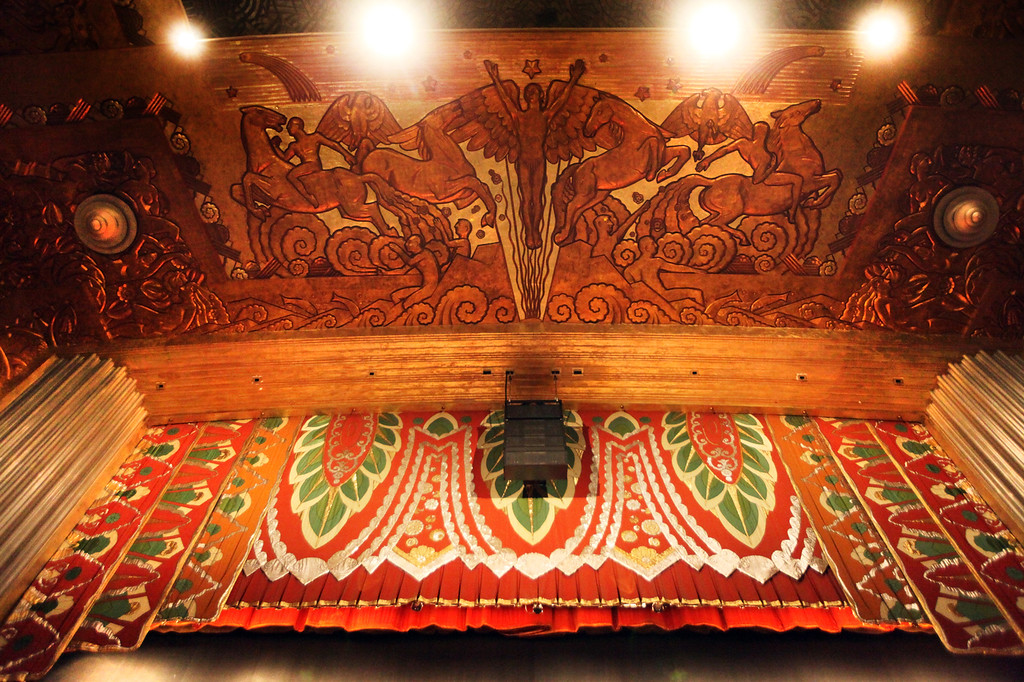 . A golden-relief mural adorns the ceiling above the curtain at the at the Paramount Theatre in Oakland. The Paramount was named a California Registered Historic Landmark in 1976 and a National Historic Landmark in 1977.  (Laura A. Oda/Bay Area News Group)
