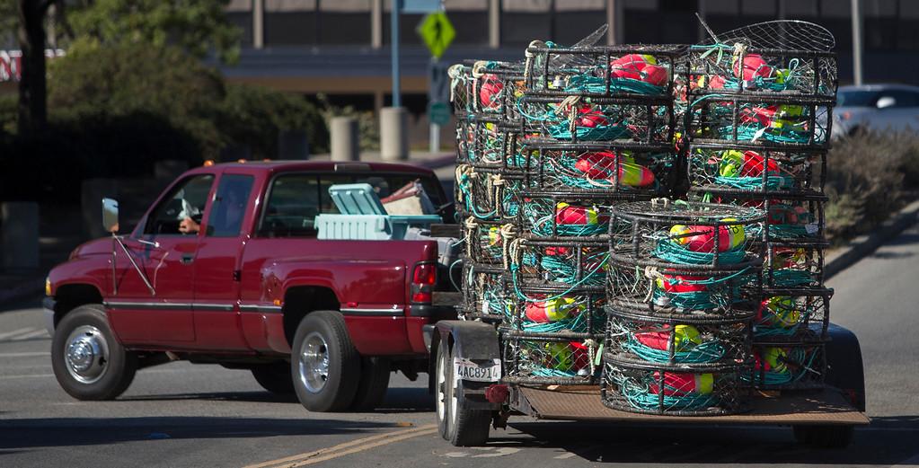 . Fisherman Bill Webb hauls crab pots to be loaded on his boat at Pillar Point Harbor, in Half Moon Bay. (John Green/Bay Area News Group)