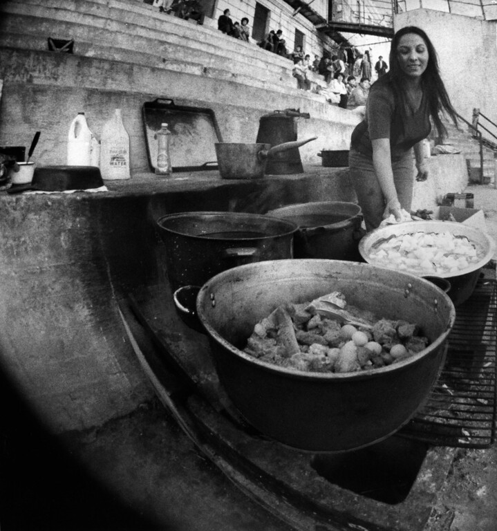 . November 29, 1969 - Lorriane Parrish of Berkeley prepares a stew in the Alcatraz courtyard during the American Indian Movement occupation of the prison. (Roy H. Williams / Oakland Tribune Staff Archives)