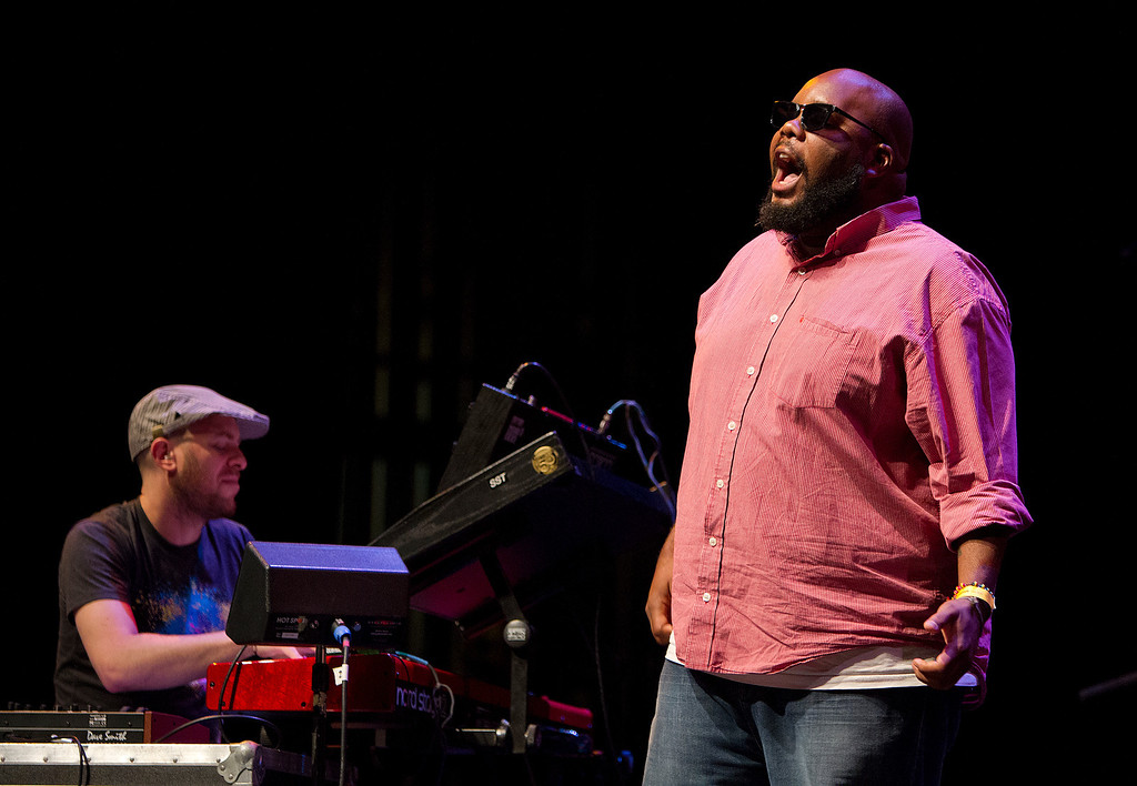 . From left, Jason Lindner and Kokayi of the Dafnis Prieto Proverb Trio perform at the San Jose Rep Stage at the San Jose Jazz Festival, in San Jose, Calif., on Saturday Aug. 10, 2013.  (LiPo Ching/Bay Area News Group)