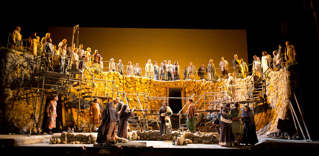 """. Set in Galilee in the first century C.E., a large supporting cast climbs around David Korins\' set design in San Francisco Opera\'s world premiere of Mark Adamo\'s \""""The Gospel of Mary Magdalene,\"""" Sunday, June 16, 2013 at the War Memorial Opera House in San Francisco. (D. Ross Cameron/Bay Area News Group)"""