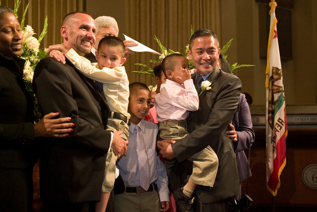 . Newly married partners John Hanley, second from left, and Dennis Hanley pose for a photograph with their three adopted children, Brian, 6, Isaac, 8, and Christian, 5, following their marriage ceremony at city hall in Oakland, Calif., on June 16, 2008. (D. Ross Cameron/Bay Area News Group Archives)