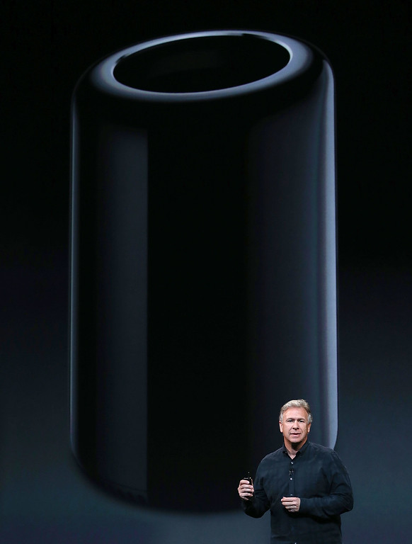 . Apple Senior Vice President of Worldwide Marketing Phil Schiller announces the new Mac Pro during an Apple announcement at the Yerba Buena Center for the Arts on Oct. 22, 2013 in San Francisco, California. The tech giant is expected to announce its new iPad 5, iPad mini 2, OS X Mavericks and possibly a new retina MacBook Pro.  (Justin Sullivan/Getty Images)
