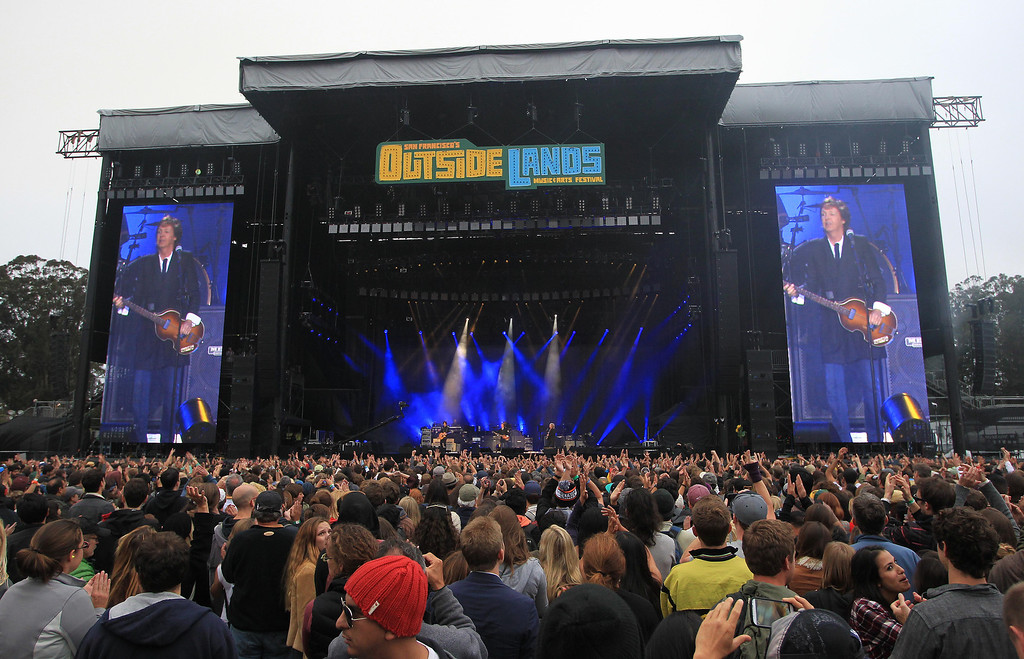 . Paul McCartney headlines on the Land\'s End stage during the 6th annual Outside Lands Music and Arts Festival in Golden Gate Park in San Francisco, Calif., on Friday, Aug. 9, 2013.  (Jane Tyska/Bay Area News Group)
