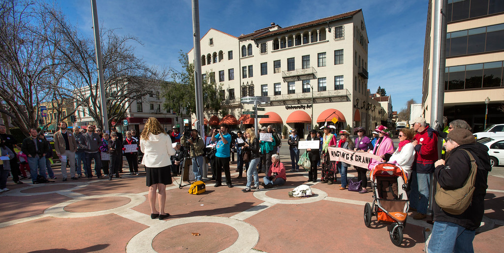 . About 200 people attend the Silicon Valley Community Against Gun Violence rally in front of Palo Alto City Hall . (John Green/Staff)