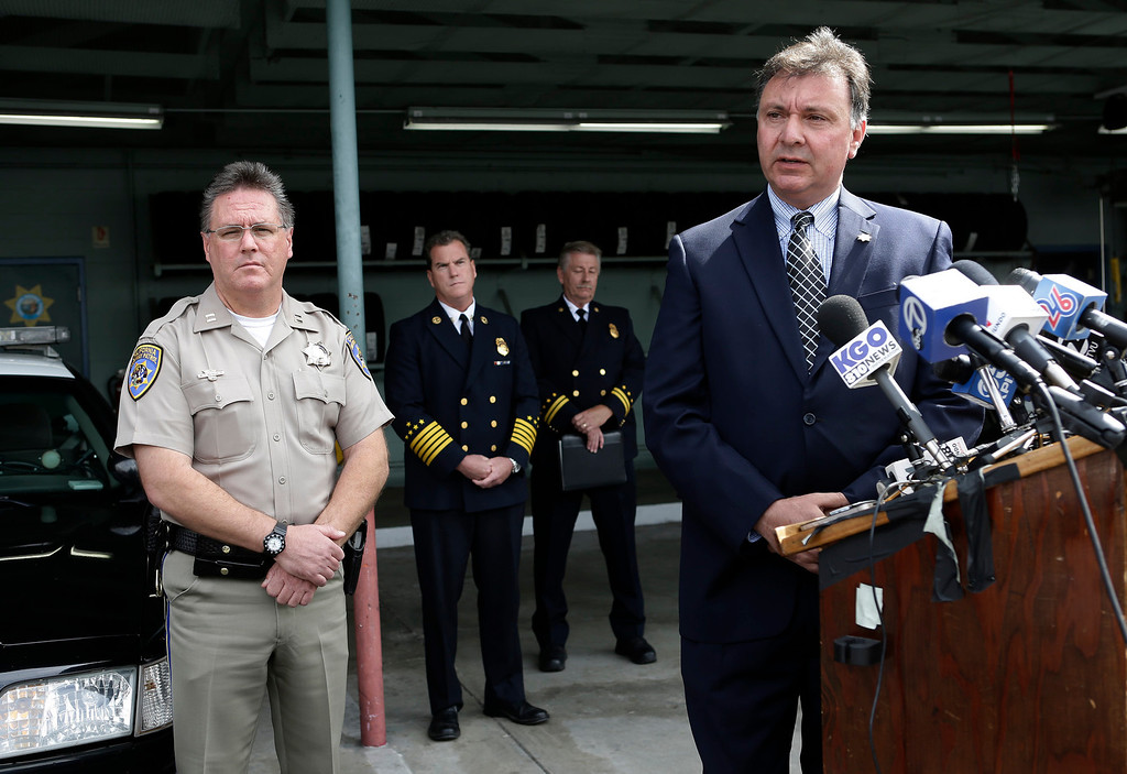 . Mike Maskarich, Commander Redwood City, CHP, and Robert Foucrault, San Mateo Coroner speak at a press conference to discuss last Saturday\'s deadly limousine fire at the CHP Headquarters in Redwood City, Calif. on Monday, May 6, 2013. Five woman including a bride died when their limousine became engulfed in flames on the San Mateo Bridge while on their way to a bridal shower. Four women and the driver were able to escape the flames.  (Gary Reyes/ Bay Area News Group)