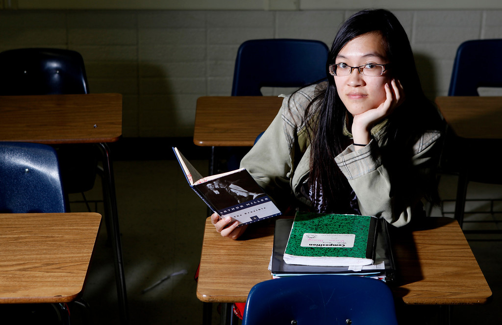 . Portrait of San Jose High International Baccalaureate Senior Tien Hoang,17, member of the 150th graduating class. She will attend UC Berkeley in the fall. In Room 30 after school where she spent count less hour studying and getting help from teacher. She is an immigrant from Vietnam. At San Jose High, in San Jose, Calif.  on Tuesday, April 2, 2013. (Josie Lepe/Bay Area News Group)