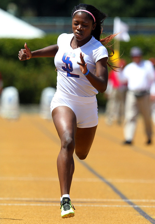 . San Leandro\'s Gabrielle Cantrell wins the girls 100 meter final at the North Coast Section Meet of Champions at Cal\'s Edwards Stadium in Berkeley, Calif., on Saturday, May 25, 2013. (Anda Chu/Bay Area News Group)