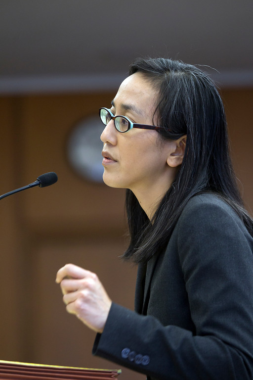 . Linda Lye, an attorney for the ACLU of Northern Calif. speaks against the Alameda County Sheriff\'s plans to acquire a drone for aerial enforcement, during a hearing Thursday, Feb. 14, 2013 at the Alameda County Administration Building in Oakland, Calif. (D. Ross Cameron/Staff)