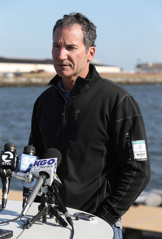 . Artemis Racing Chief Executive Officer Paul Cayard speaks to the media during a short press conference at the Artemis Racing headquarters at the former Alameda Naval Air Station in Alameda, Calif., on Thursday, May 9, 2013.   (Jane Tyska/Bay Area News Group)