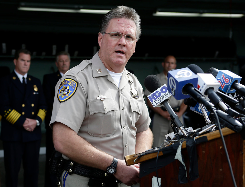 . Mike Maskarich, Commander Redwood City, CHP  discusses last Saturday\'s deadly limousine fire at the CHP Headquarters in Redwood City, Calif. on Monday, May 6, 2013. Five woman including a bride died when their limousine became engulfed in flames on the San Mateo Bridge while on their way to a bridal shower. Four women and the driver were able to escape the flames.  (Gary Reyes/ Bay Area News Group)