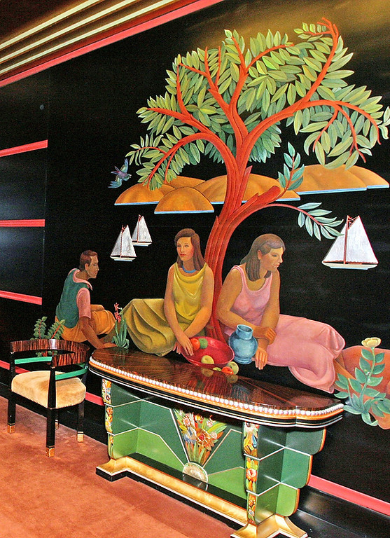 . The smoking room mural is one of the many features at the Paramount Theatre in Oakland that was completely renovated. Restoration of the theater, which reopened in 1973, took nine months and cost $1 million. (Akim Aginsky/Bay Area News Group Staff Archives)