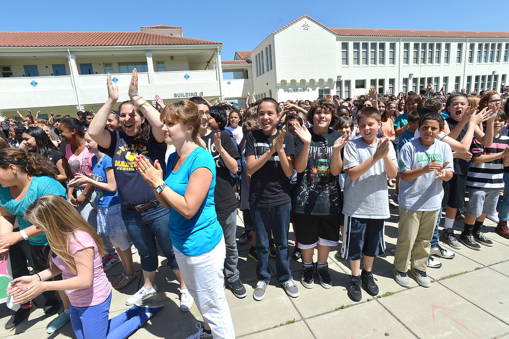 . Martinez Junior High School students yell out and slap while shooting a video to send well wishes to fellow student Aaron Hern in Martinez, Calif., on Friday, April 19, 2013. Hern is recovering in Boston at Children\'s Hospital after being severely injured at the Boston Marathon explosion last Monday. (Dan Rosenstrauch/Bay Area News Group)