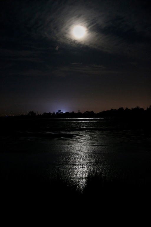 ". Palo Alto Baylands is  illuminated by the super moo in Palo Alto, Calif., on Sunday, Aug. 10, 2014, The phenomenon, which scientists call a ""perigee moon,\"" occurs when the moon is near the horizon and appears larger and brighter than other full moons. (Josie Lepe/Bay Area News Group)"