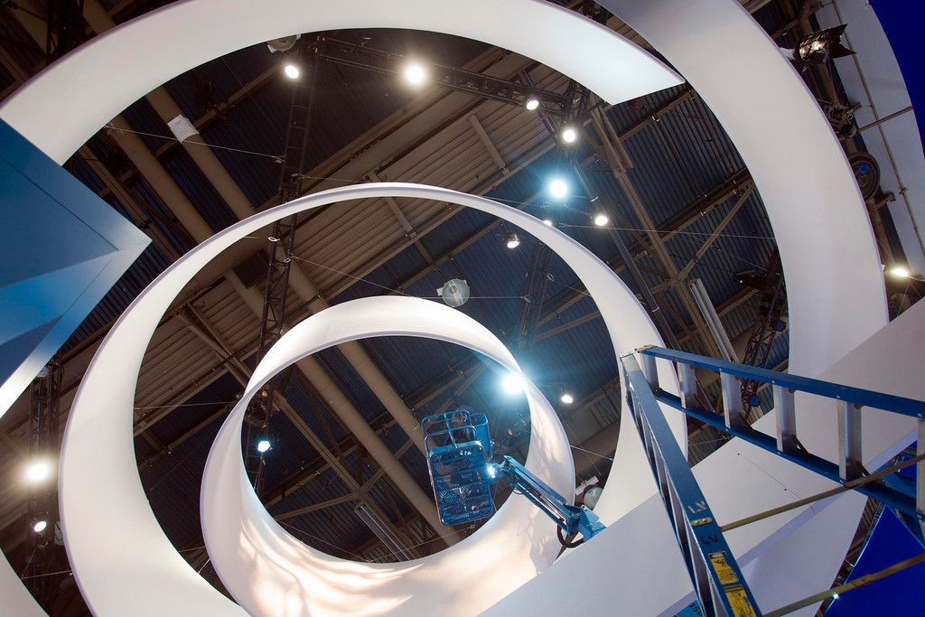 . A lighting technician prepares the Casio booth for the International CES show at the Las Vegas Convention Center in Las Vegas, Nev., on Jan. 4, 2013. (REUTERS/Steve Marcus)