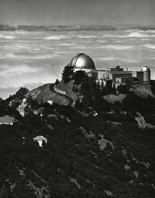 """. The photograph of Lick Observatory is a digital scan from the book \""""Fiat Lux,\"""" published for the 1968 centennial of the University of California and was taken by famed photographer Ansel Adams. © 2012 Regents of the University of California. All rights reserved."""