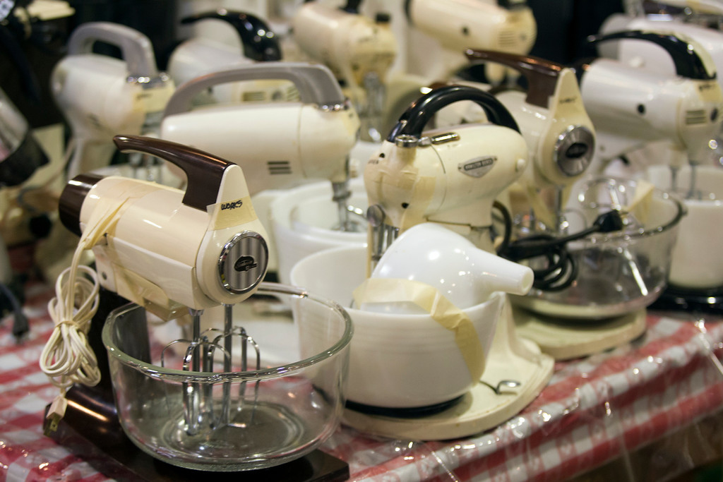 . Dozens of electric mixers are among the items available at the annual White Elephant Sale, at the Oakland Museum Women\'s Board 96,000-square-foot warehouse in Oakland, Calif., Tuesday, Jan. 15, 2013. (D. Ross Cameron/Staff)