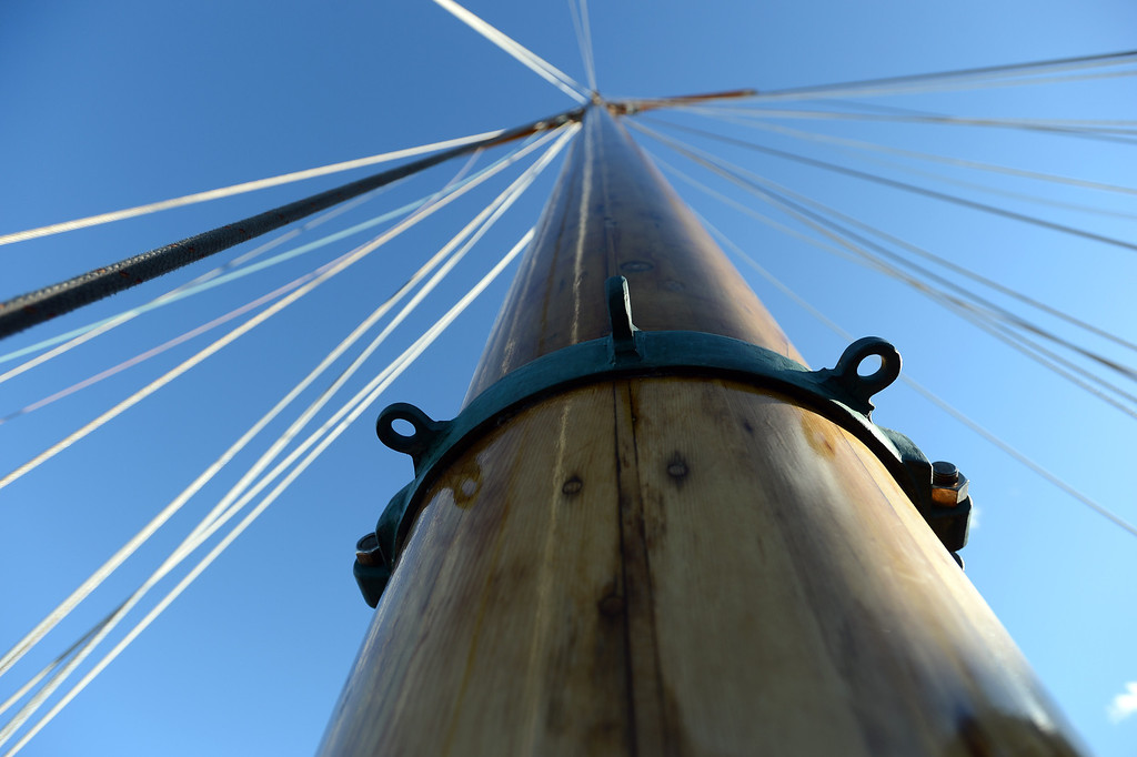 . A wooden mast reaches for the sky aboard the Eros, a restored 1939 English schooner owned by Bill and Grace Bodle, in Richmond, Calif. on Thursday, Jan. 10, 2013. (Kristopher Skinner/Staff)