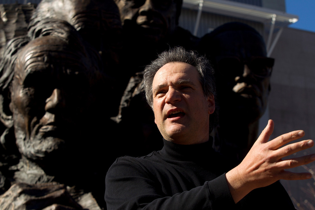 ". Mario Chiodo, the artist behind ""Remember Them,\"" speaks at a ceremony to dedicate the section for 9/11 first responders and firefighters in general, Thursday, Feb. 21, 2013 in Oakland Calif. (D. Ross Cameron/Staff)"