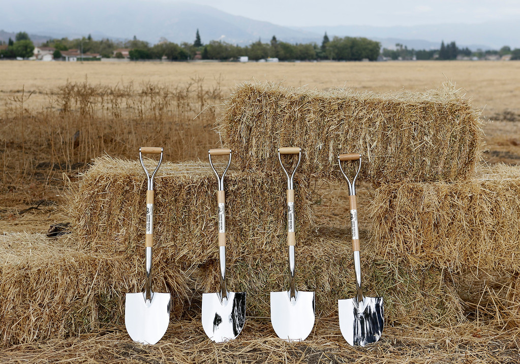 . Shovels await state, county and local officials for a ground breaking ceremony at Martial Cottle Park in south San Jose, Calif. on Friday, Aug. 9, 2013. Official groundbreaking took place today on what will be a new state and county park that will showcase the rich agricultural history of Silicon Valley. The 287 acres is one of the last working farms in San Jose.  (Gary Reyes/Bay Area News Group)