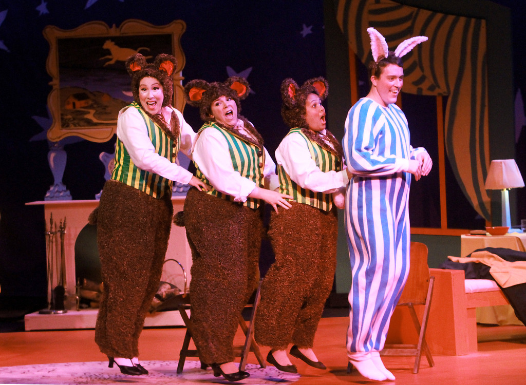. Dancing bears, played by Vanessa Alvarez, from left, Karyn Rondeau, and Ernestine Balisi, hop along with Daniel Joyce, as bunny, during �Goodnight Moon� at the Palo Alto Children�s Theatre on Wednesday, Feb. 6, 2013. �Goodnight Moon� is a musical by Chad Henry based on the book by Margaret Wise Brown and Clement Hurd. The musical showcases singing and dancing with nursery rhyme themes. The musical�s run ends on Sunday, Feb. 10, 2013. For more information, visit http://tinyurl.com/paloaltotheatre.   (Kirstina Sangsahachart/ Daily News)