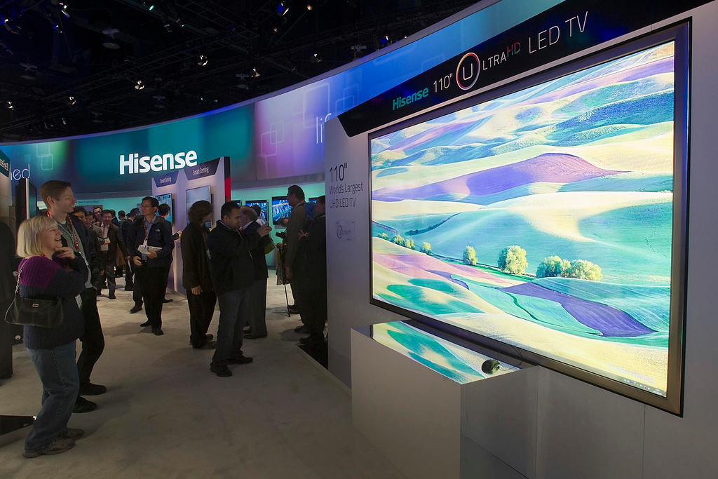 . A Hisense 110-inch Ultra HD LED television, the world\'s largest, is displayed during the first day of the Consumer Electronics Show (CES) in Las Vegas January 8, 2013. (REUTERS/Steve Marcus)
