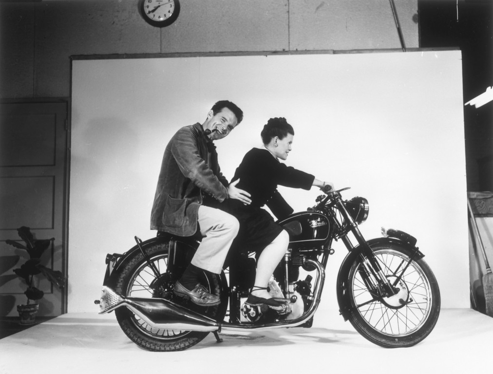 . Charles and Ray Eames on a Vecocette Motorcycle, Venice, c. 1948. Copyright 2013 Eames Office, LLC (eamesoffice.com)