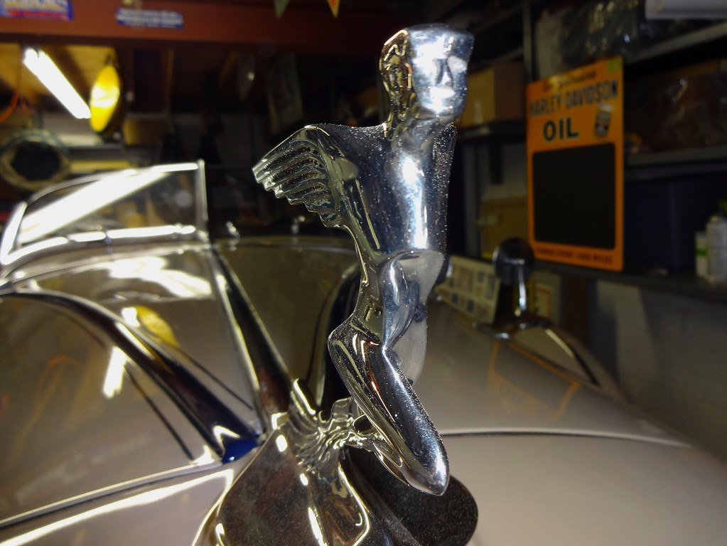 """. A winged \""""mascot\"""" leads the way on the nose of Lloyd Riggs\' rare 1931 Auburn Speedster Model 8-98. (David Krumboltz/For Bay Area News Group)"""