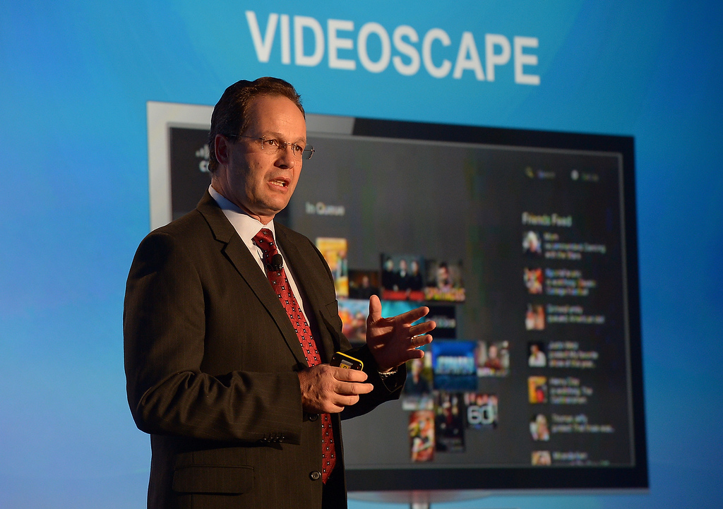 . Marthin DeBeer, senior vice-president for video and collaboration group, introduces Videoscape Unityi at the 2013 International Consumer Electronics Show in Las Vegas on January 7, 2013. (JOE KLAMAR/AFP/Getty Images)
