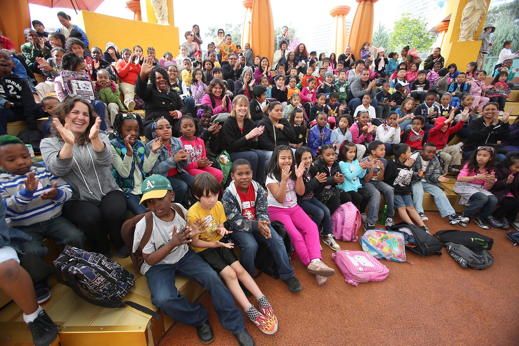 """. Children from Emerson Elementary School watch San Francisco Shakespeare actors perform \""""A Midsummer Night\'s Dream\"""" on the Aesop\'s Playhouse stage at Children\'s Fairyland in Oakland, Calif., on Friday, March 15, 2013.  (Jane Tyska/Staff)"""