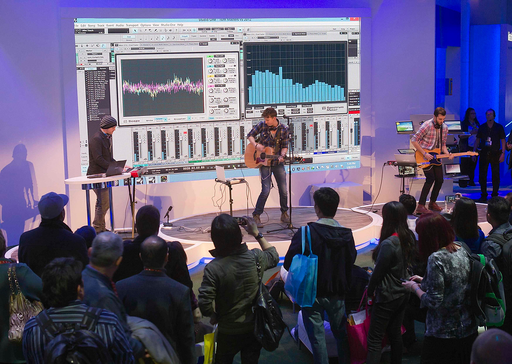 . Singer Austin Renfroe (C) and band members perform at the Intel booth during the first day of the Consumer Electronics Show (CES) in Las Vegas January 8, 2013. (REUTERS/Steve Marcus)