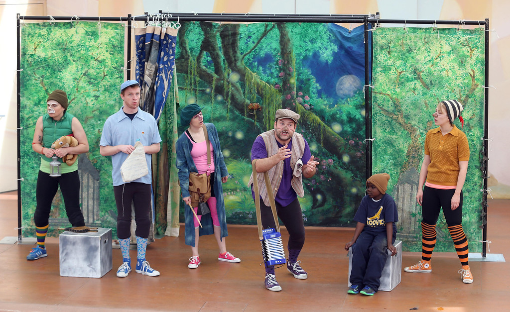 """. Sabrina De Mio, Brandon Mears, Amber Sommerfeld, Steven Westdahl and Nikki Akraboff, left to right, perform in San Francisco Shakespeare\'s \""""A Midsummer Night\'s Dream\"""" on the Aesop\'s Playhouse stage at Children\'s Fairyland in Oakland, Calif., on Friday, March 15, 2013. Second from right is a stage guest from Emerson Elementary School in Oakland. (Jane Tyska/Staff)"""