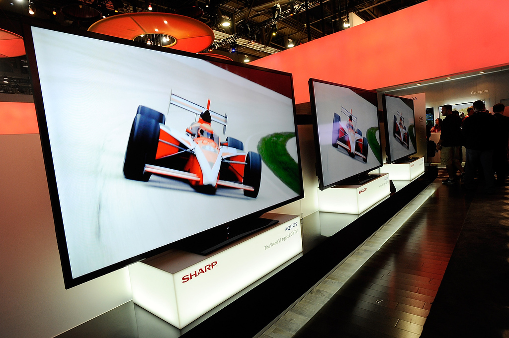 . Sharp\'s 90 inch LED televisons are seen at the 2013 International CES at the Las Vegas Convention Center on January 8, 2013 in Las Vegas, Nevada. (Photo by David Becker/Getty Images)
