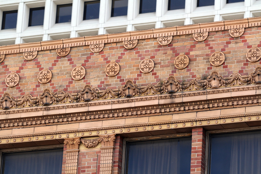 . Many of the older buildings along Telegraph Avenue in downtown Oakland, Calif., have been restored to their decorative origins adorned in ornate details photographed on Tuesday, Jan. 29, 2013. (Laura A. Oda/Staff)