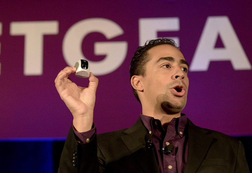 . Netgear Vice President of Engineering David Henry holds up a VueZone wireless camera at the 2013 International Consumer Electronics Show in Las Vegas on January 7, 2013. (JOE KLAMAR/AFP/Getty Images)