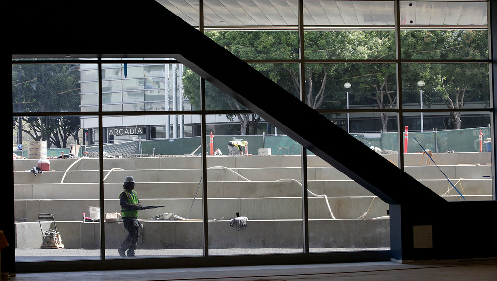 . The outdoor Plaza Terrace is seen from the meeting room area of the 125,000-square-foot  expansion of the San Jose McEnery Convention Center in San Jose, Calif. on Tuesday, Aug. 6, 2013.  (Gary Reyes/Bay Area News Group)