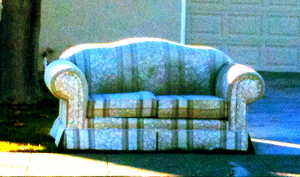 """. Henry Solis of San Jose noticed the quantity of couches kicked to the curb, so he started a photo blog and plans to make and sell Ugly Couch T-shirts. Check it out at <a href=\""""http://sjstreetsofas.tumblr.com\"""">sjstreetsofas.tumblr.com</a>."""