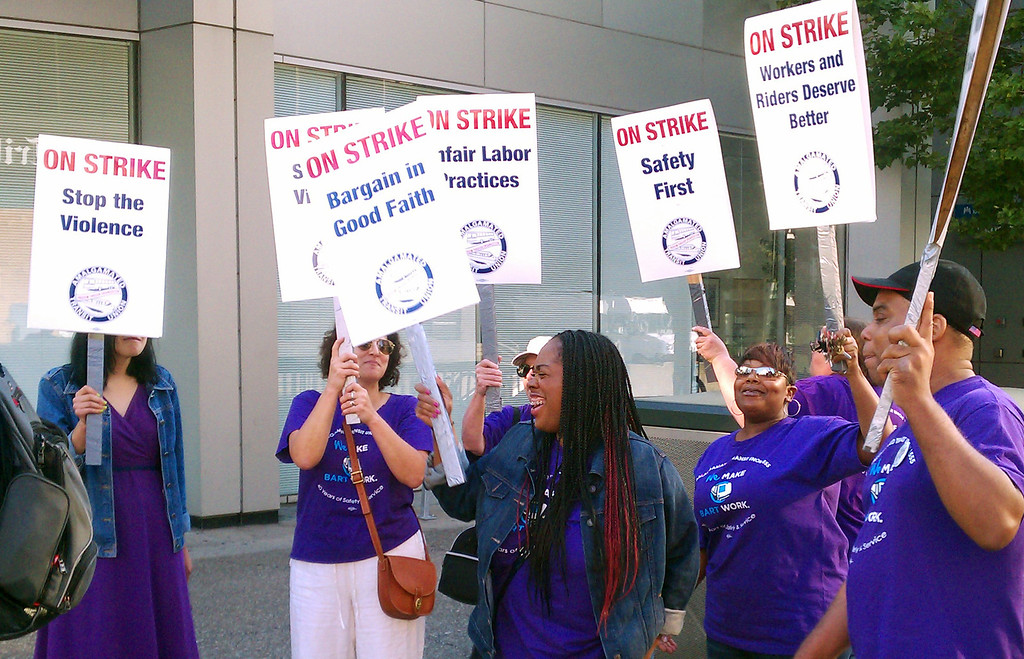 . BART picketers gather at Broadway and 20th Street in Oakland, California on July 1, 2013, during the first day of the BART strike. (D. Ross Cameron/Bay Area News Group)