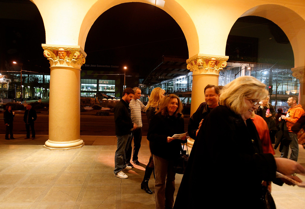 . Concert-goers wait in line to enter the San Jose Civic before Jackson Browne performed at the Civic in downtown San Jose, Calif. on Tuesday, Jan. 22, 2013.  (Nhat V. Meyer/Staff)