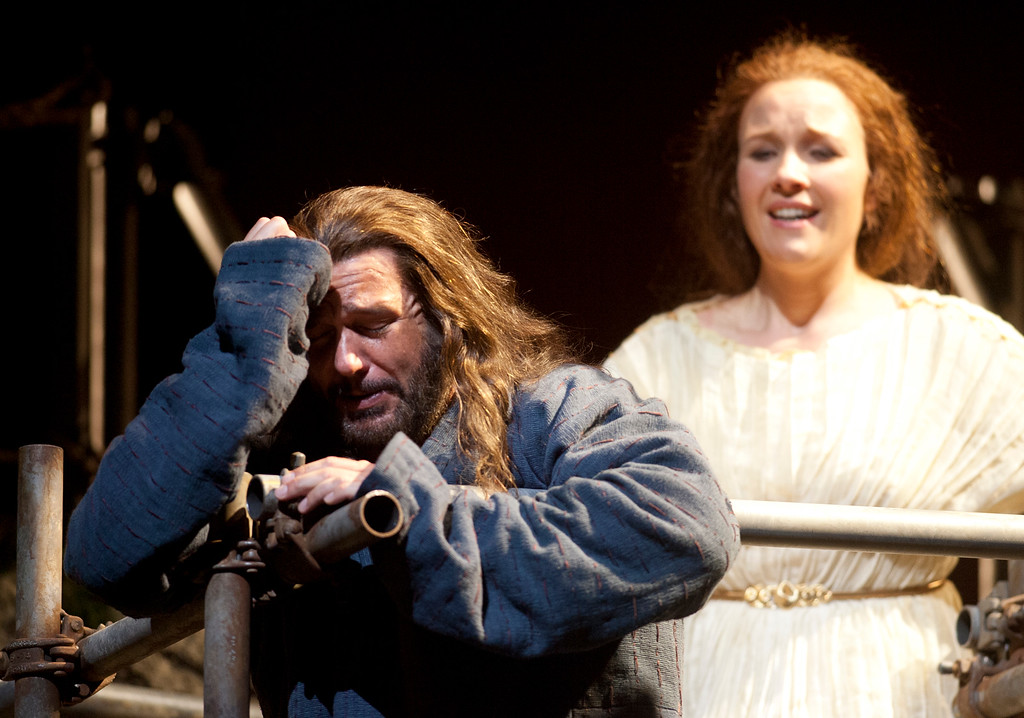 """. Mary Magdalene (Sasha Cooke), right, tries to comfort Yeshua (Nathan Gunn) after they learn of the execution of John the Baptist, in a scene from San Francisco Opera\'s world premiere of Mark Adamo\'s \""""The Gospel of Mary Magdalene,\"""" Sunday, June 16, 2013 at the War Memorial Opera House in San Francisco. (D. Ross Cameron/Bay Area News Group)"""