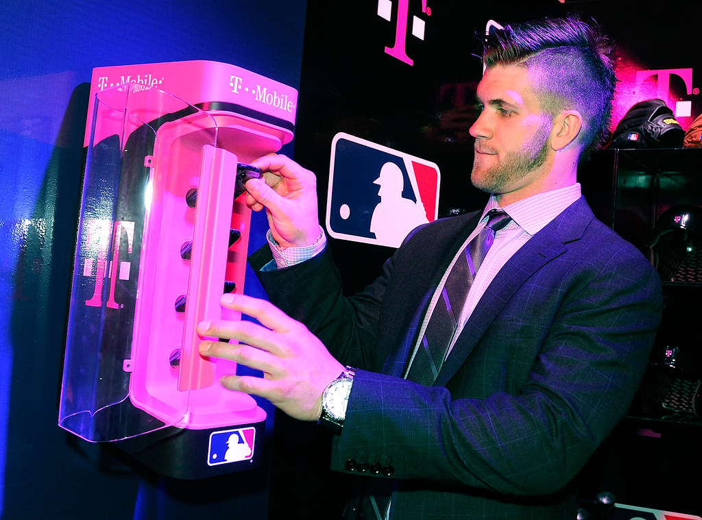 . Bryce Harper of the Washington Nationals appears at a T-Mobile news conference at the 2013 International CES at The Venetian on January 8, 2013 in Las Vegas, Nevada. T-Mobile announced a partnership with Major League baseball. (Photo by David Becker/Getty Images)