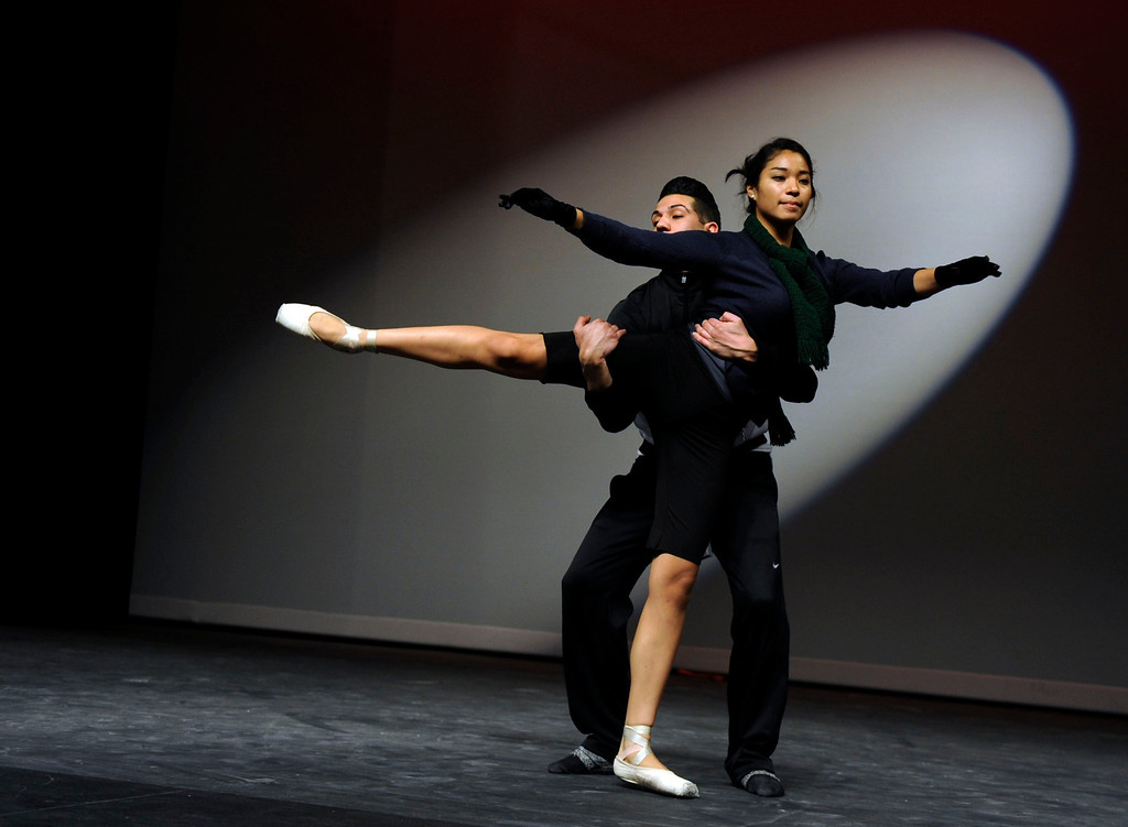 ". Andrea Herrera of Antioch and Ricky Navarro of Pittsburg, members of the Black Diamond Ballet Theatre  rehearse to ""Let\'s Do It, Let\'s Fall In Love\"" during a dress rehearsal in preparation for the Jan. 19 opening gala at the restored California Theatre in Pittsburg, Calif. on Tuesday, Jan. 15, 2013.  (Susan Tripp Pollard/Staff)"