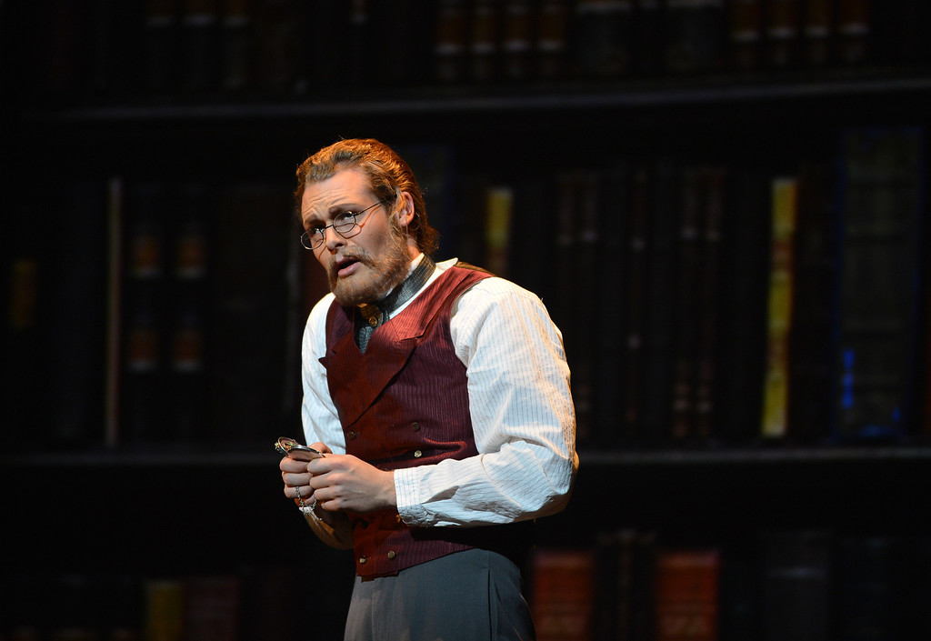 """. Philippe Sly, as Archibald Craven, works through a scene during a rehearsal for a collaborative production of \""""The Secret Garden\"""" by Cal Performances and S.F. Opera at Zellerbach Hall on the University of California campus in Berkeley, Calif. on Wednesday, Feb. 27, 2013. (Kristopher Skinner/Staff)"""
